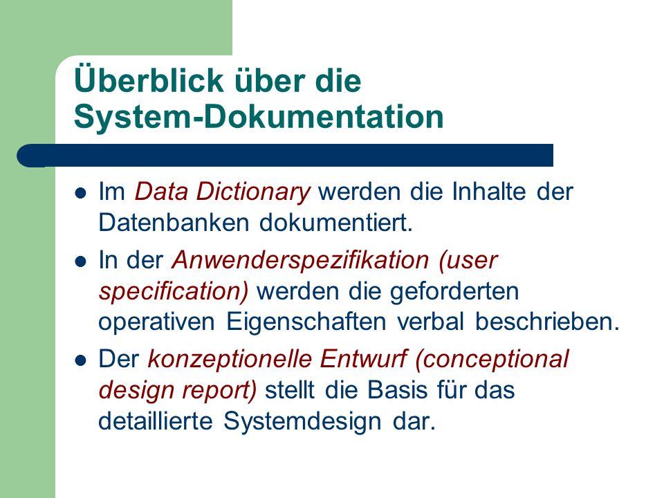 Überblick über die System-Dokumentation Im Data Dictionary werden die Inhalte der Datenbanken dokumentiert. In der Anwenderspezifikation (user specifi