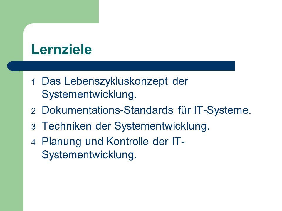 Lernziele 1 Das Lebenszykluskonzept der Systementwicklung. 2 Dokumentations-Standards für IT-Systeme. 3 Techniken der Systementwicklung. 4 Planung und