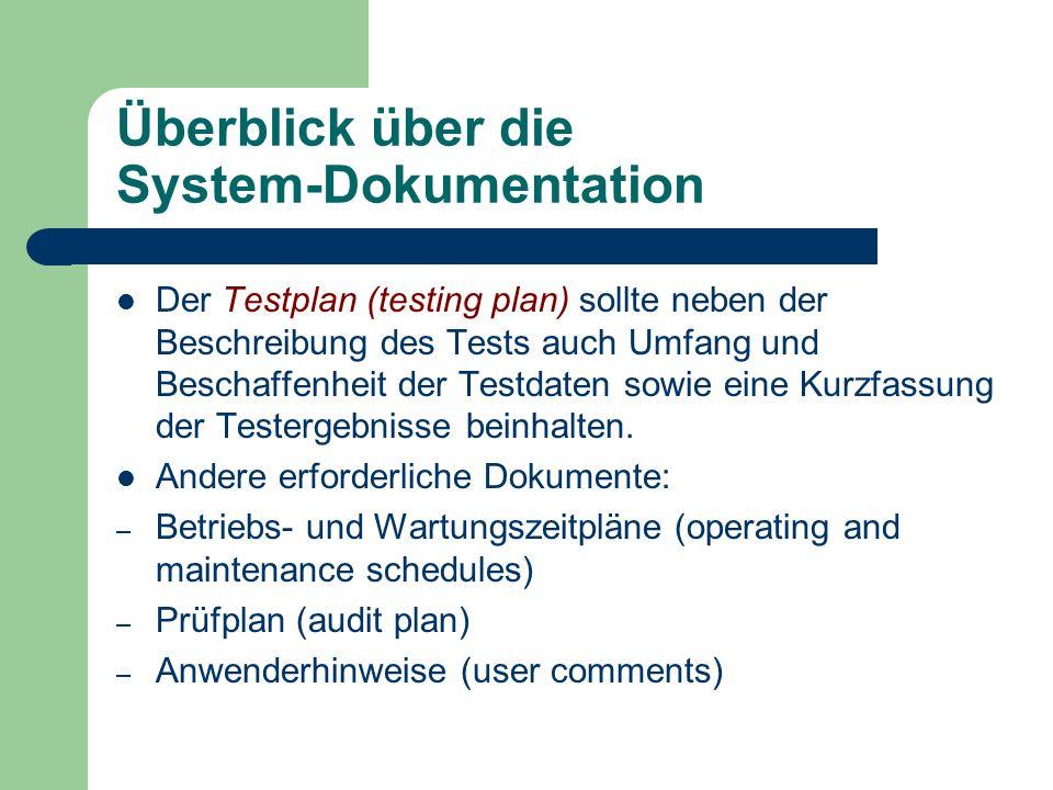 Überblick über die System-Dokumentation Der Testplan (testing plan) sollte neben der Beschreibung des Tests auch Umfang und Beschaffenheit der Testdat