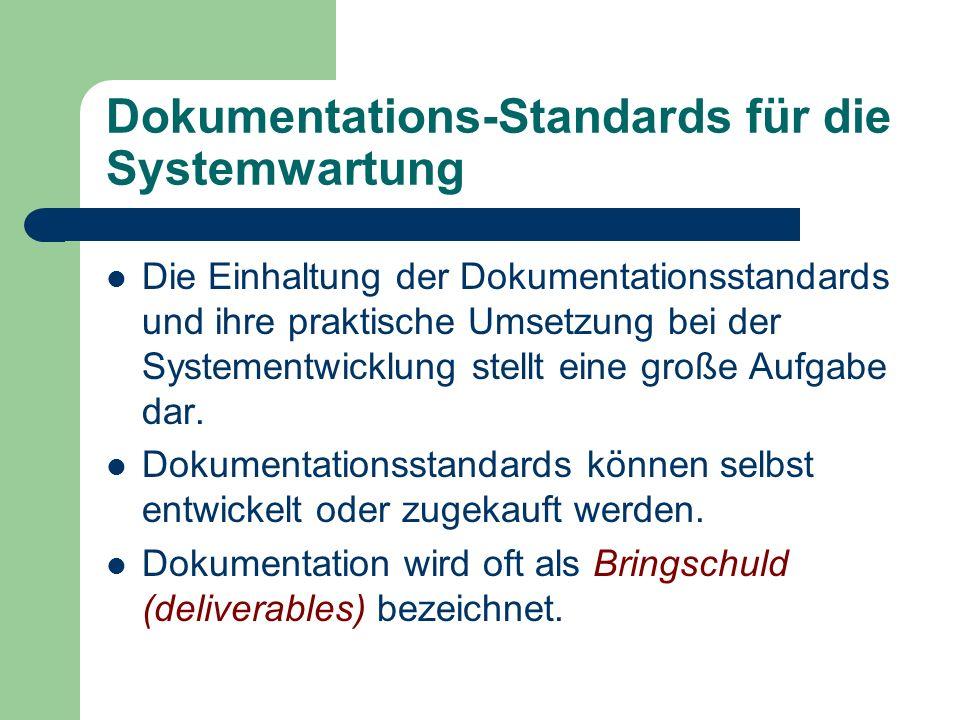 Dokumentations-Standards für die Systemwartung Die Einhaltung der Dokumentationsstandards und ihre praktische Umsetzung bei der Systementwicklung stel