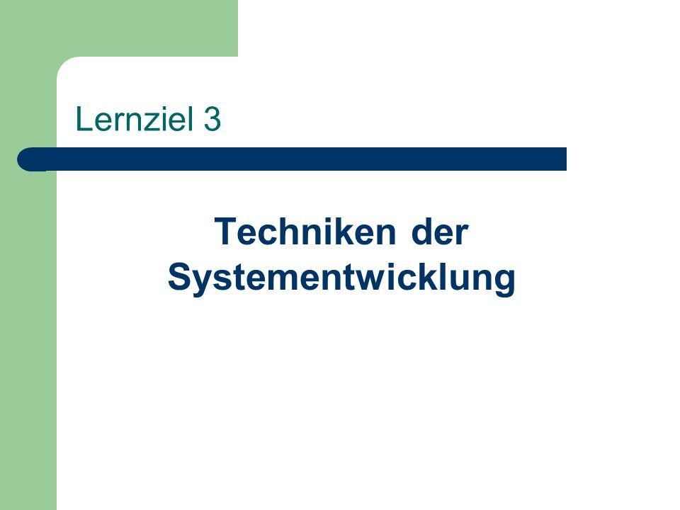 Lernziel 3 Techniken der Systementwicklung