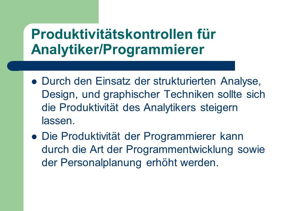 Produktivitätskontrollen für Analytiker/Programmierer Durch den Einsatz der strukturierten Analyse, Design, und graphischer Techniken sollte sich die