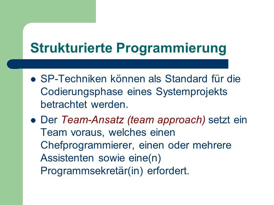 Strukturierte Programmierung SP-Techniken können als Standard für die Codierungsphase eines Systemprojekts betrachtet werden. Der Team-Ansatz (team ap