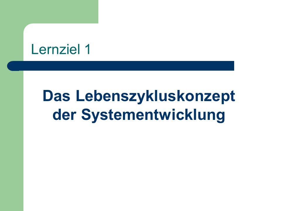 Lernziel 1 Das Lebenszykluskonzept der Systementwicklung
