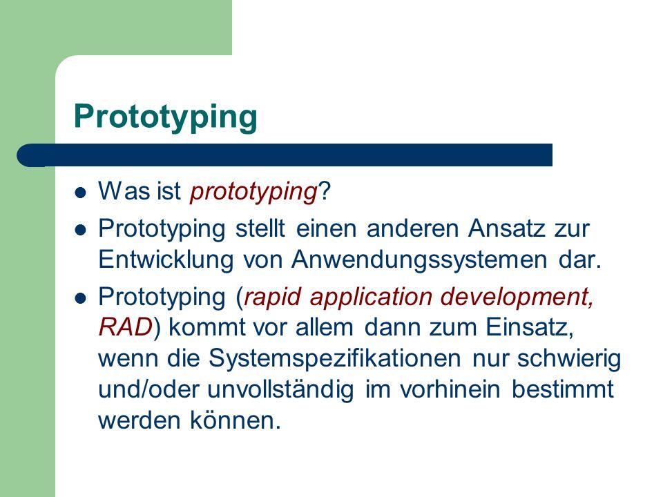 Prototyping Was ist prototyping? Prototyping stellt einen anderen Ansatz zur Entwicklung von Anwendungssystemen dar. Prototyping (rapid application de