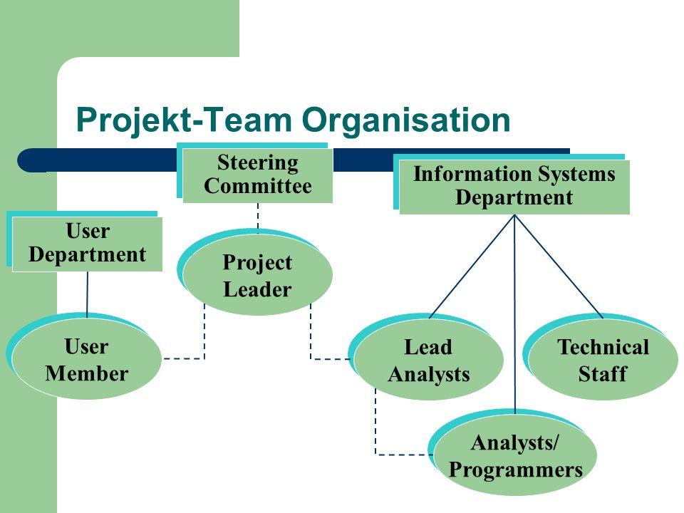 Projekt-Team Organisation Information Systems Department Steering Committee User Department Analysts/ Programmers Analysts/ Programmers Lead Analysts