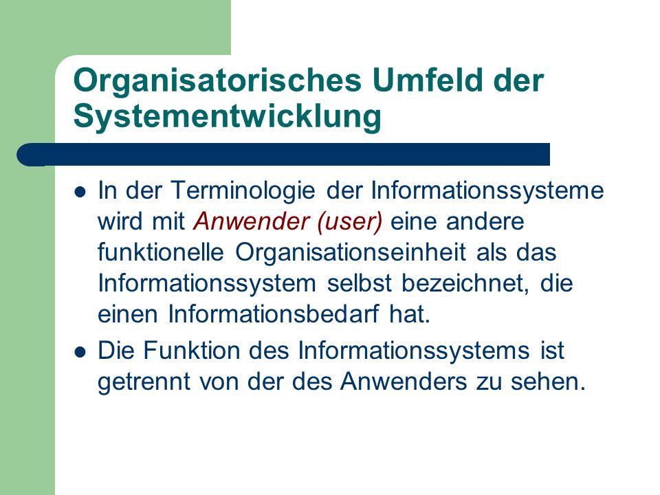 Organisatorisches Umfeld der Systementwicklung In der Terminologie der Informationssysteme wird mit Anwender (user) eine andere funktionelle Organisat