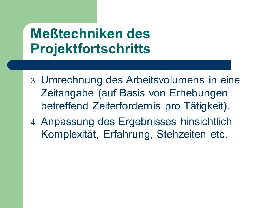 Meßtechniken des Projektfortschritts 3 Umrechnung des Arbeitsvolumens in eine Zeitangabe (auf Basis von Erhebungen betreffend Zeiterfordernis pro Täti