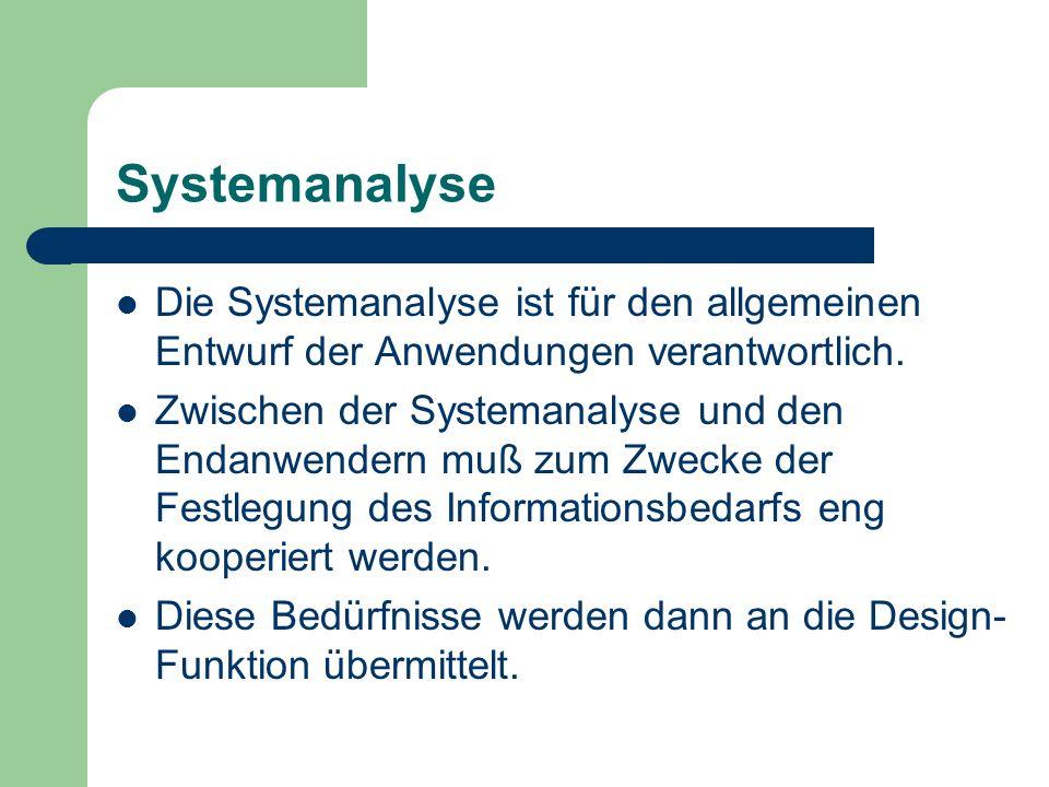 Systemanalyse Die Systemanalyse ist für den allgemeinen Entwurf der Anwendungen verantwortlich. Zwischen der Systemanalyse und den Endanwendern muß zu