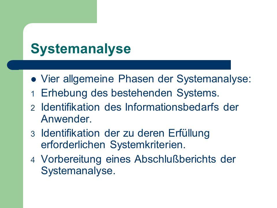 Systemanalyse Vier allgemeine Phasen der Systemanalyse: 1 Erhebung des bestehenden Systems. 2 Identifikation des Informationsbedarfs der Anwender. 3 I