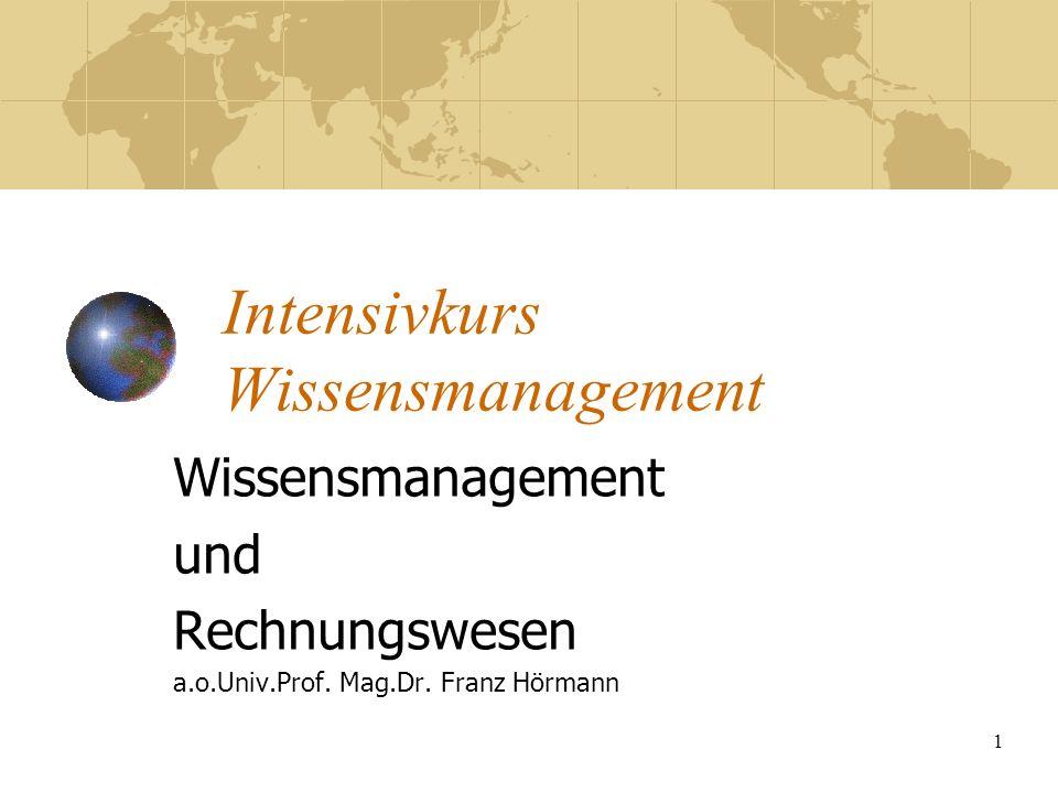 1 Intensivkurs Wissensmanagement Wissensmanagement und Rechnungswesen a.o.Univ.Prof. Mag.Dr. Franz Hörmann