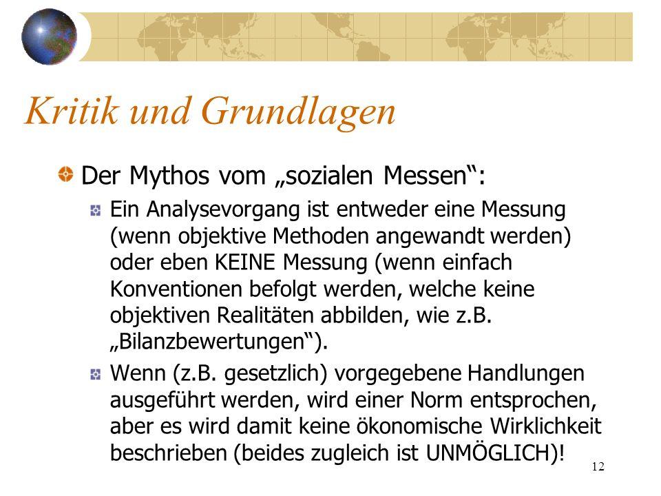 12 Der Mythos vom sozialen Messen: Ein Analysevorgang ist entweder eine Messung (wenn objektive Methoden angewandt werden) oder eben KEINE Messung (we