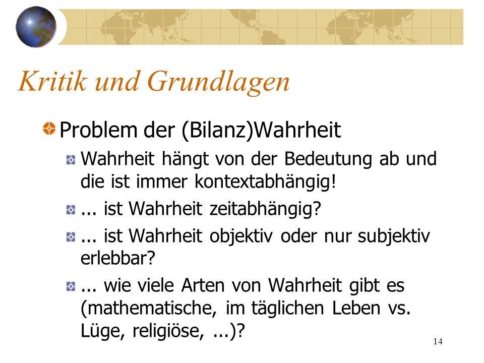 14 Problem der (Bilanz)Wahrheit Wahrheit hängt von der Bedeutung ab und die ist immer kontextabhängig!... ist Wahrheit zeitabhängig?... ist Wahrheit o