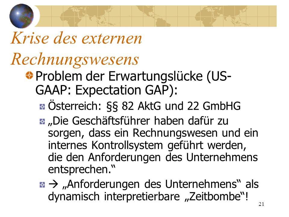 21 Problem der Erwartungslücke (US- GAAP: Expectation GAP): Österreich: §§ 82 AktG und 22 GmbHG Die Geschäftsführer haben dafür zu sorgen, dass ein Re