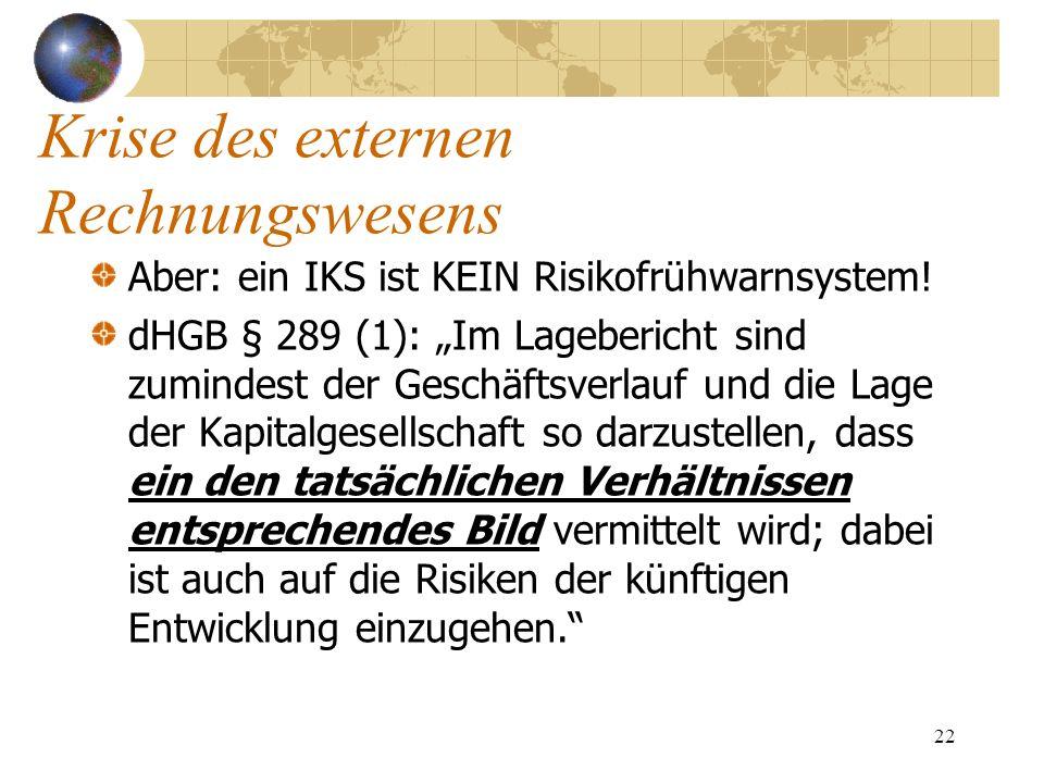 22 Aber: ein IKS ist KEIN Risikofrühwarnsystem! dHGB § 289 (1): Im Lagebericht sind zumindest der Geschäftsverlauf und die Lage der Kapitalgesellschaf