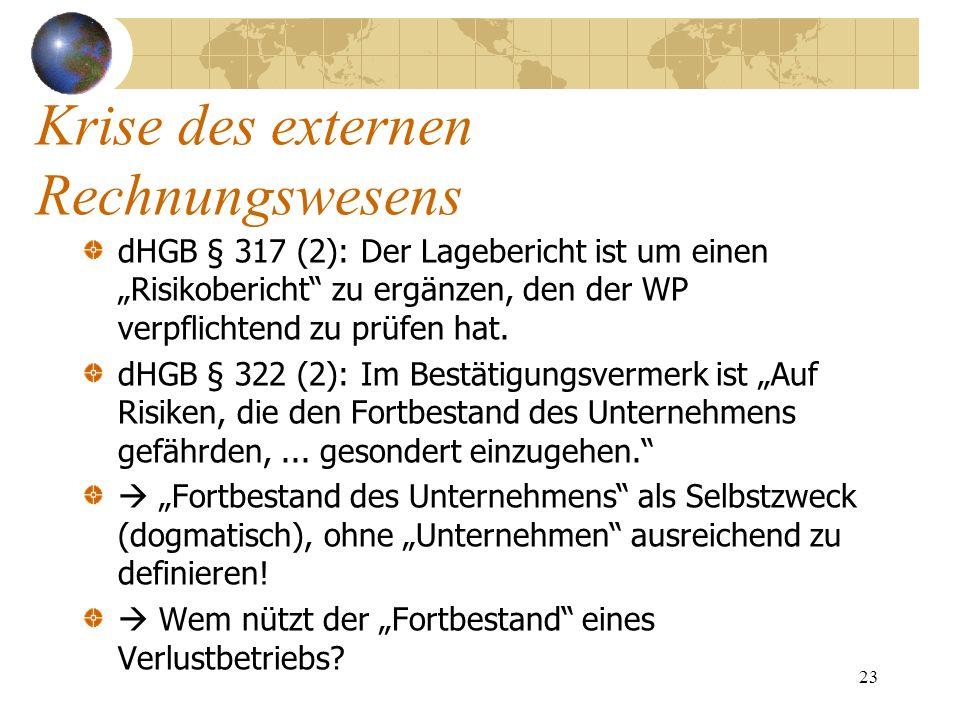 23 dHGB § 317 (2): Der Lagebericht ist um einen Risikobericht zu ergänzen, den der WP verpflichtend zu prüfen hat. dHGB § 322 (2): Im Bestätigungsverm