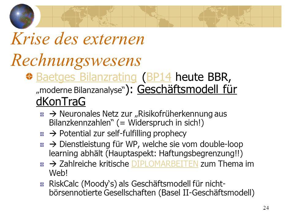 24 Baetges BilanzratingBaetges Bilanzrating (BP14 heute BBR, moderne Bilanzanalyse ): Geschäftsmodell für dKonTraGBP14 Neuronales Netz zur Risikofrühe