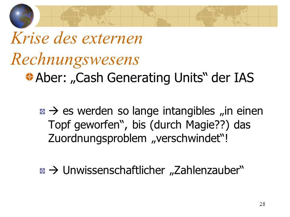 28 Aber: Cash Generating Units der IAS es werden so lange intangibles in einen Topf geworfen, bis (durch Magie??) das Zuordnungsproblem verschwindet!