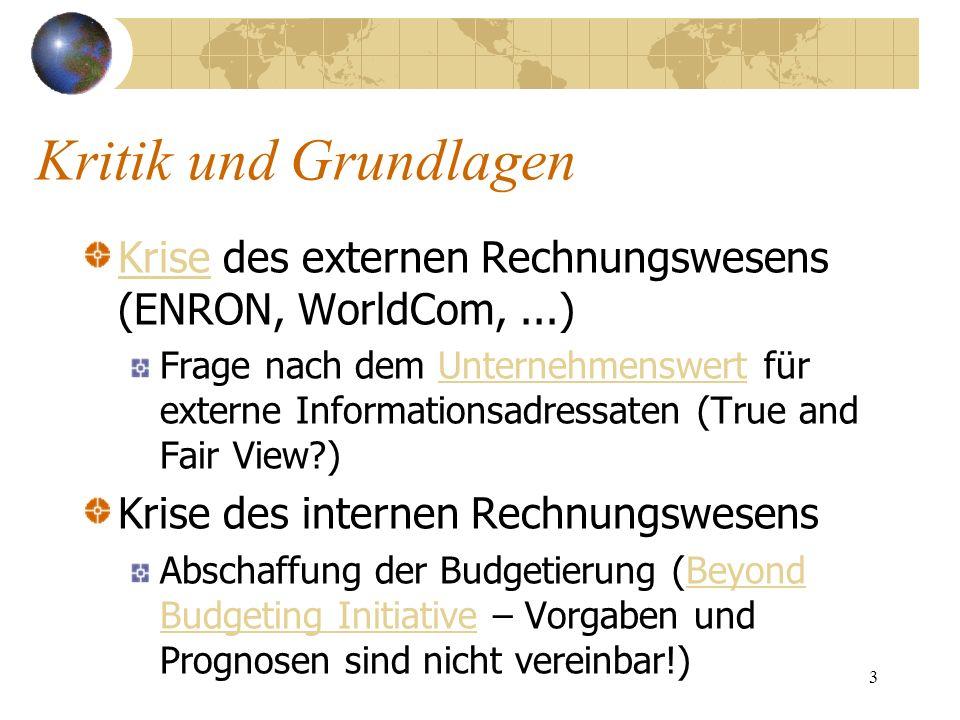 3 Kritik und Grundlagen KriseKrise des externen Rechnungswesens (ENRON, WorldCom,...) Frage nach dem Unternehmenswert für externe Informationsadressat