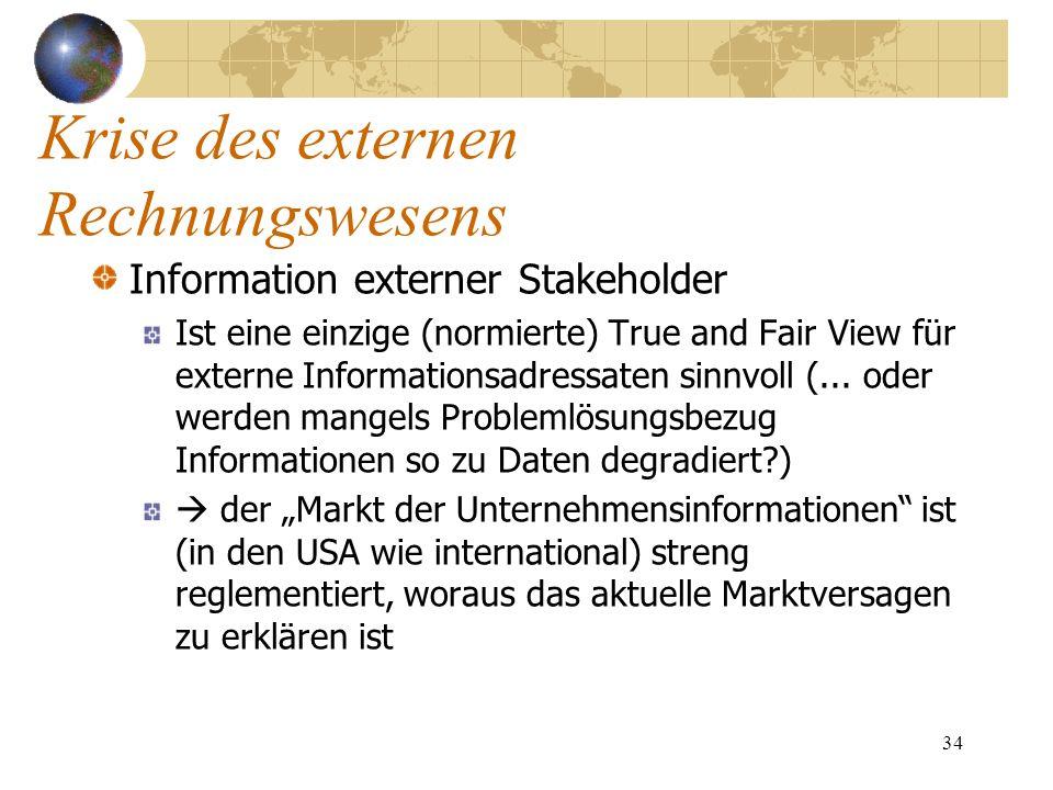 34 Information externer Stakeholder Ist eine einzige (normierte) True and Fair View für externe Informationsadressaten sinnvoll (... oder werden mange