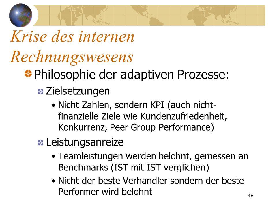 46 Philosophie der adaptiven Prozesse: Zielsetzungen Nicht Zahlen, sondern KPI (auch nicht- finanzielle Ziele wie Kundenzufriedenheit, Konkurrenz, Pee