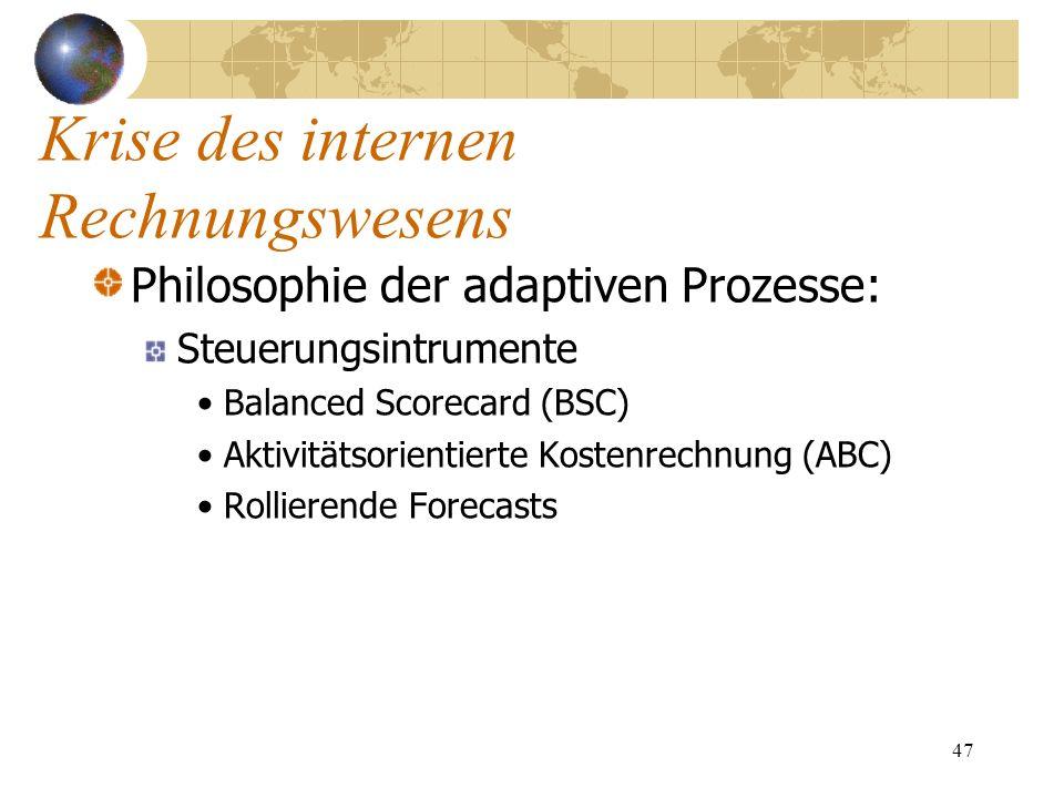 47 Philosophie der adaptiven Prozesse: Steuerungsintrumente Balanced Scorecard (BSC) Aktivitätsorientierte Kostenrechnung (ABC) Rollierende Forecasts