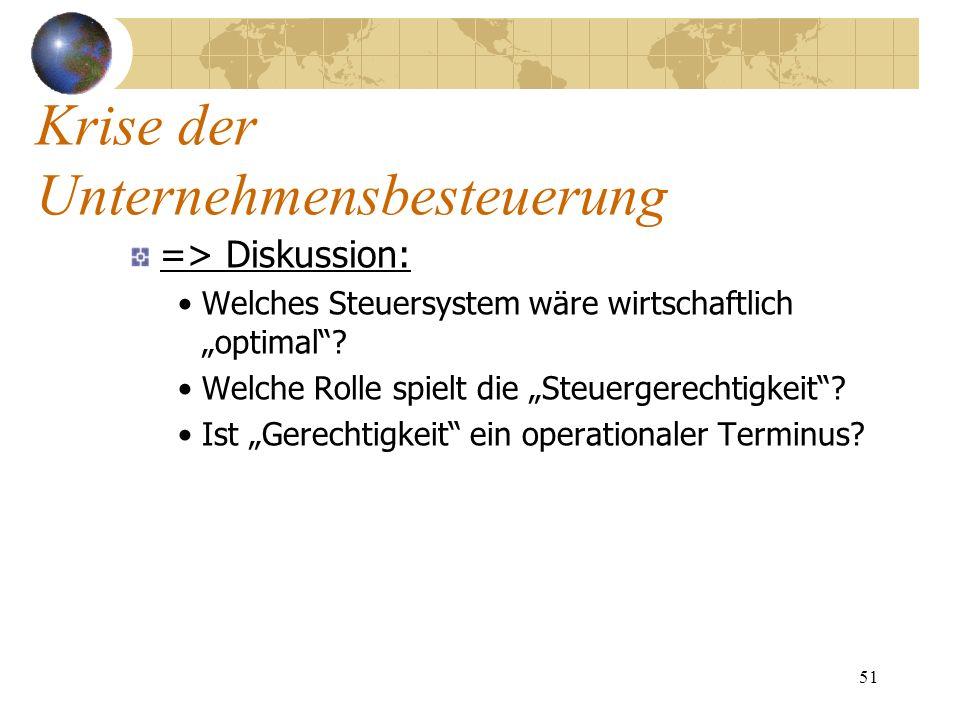51 => Diskussion: Welches Steuersystem wäre wirtschaftlich optimal? Welche Rolle spielt die Steuergerechtigkeit? Ist Gerechtigkeit ein operationaler T