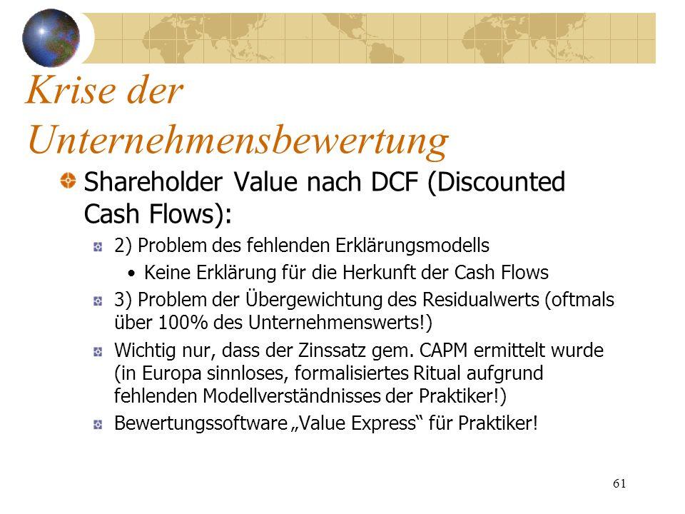 61 Shareholder Value nach DCF (Discounted Cash Flows): 2) Problem des fehlenden Erklärungsmodells Keine Erklärung für die Herkunft der Cash Flows 3) P