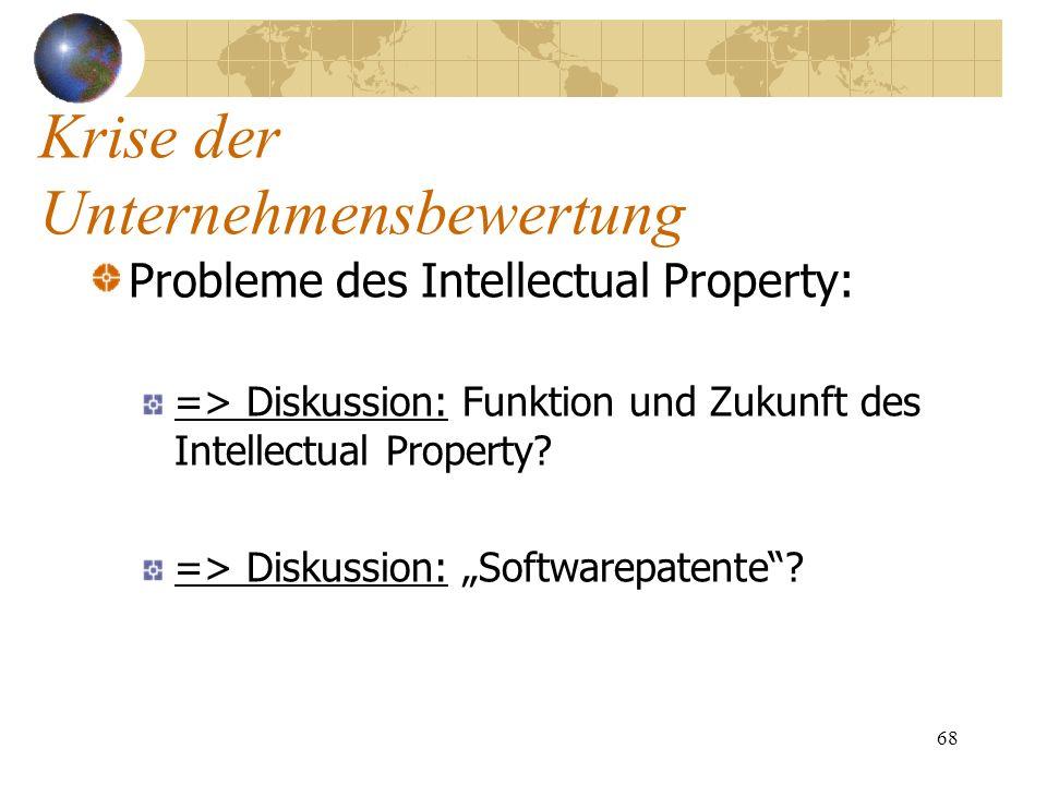 68 Probleme des Intellectual Property: => Diskussion: Funktion und Zukunft des Intellectual Property? => Diskussion: Softwarepatente? Krise der Untern