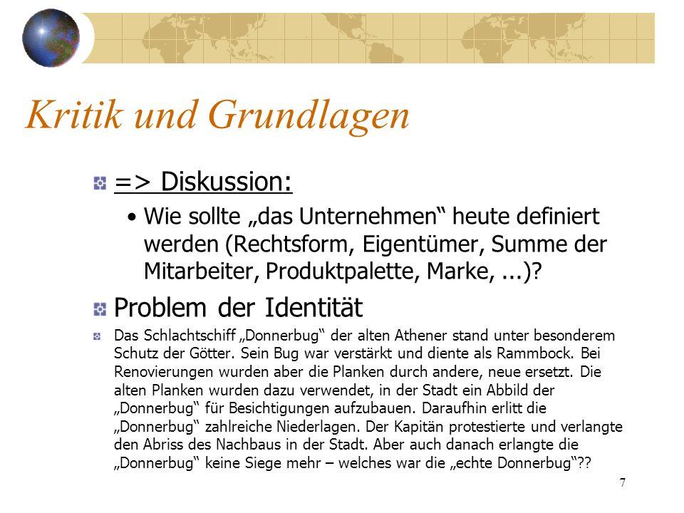 7 => Diskussion: Wie sollte das Unternehmen heute definiert werden (Rechtsform, Eigentümer, Summe der Mitarbeiter, Produktpalette, Marke,...)? Problem