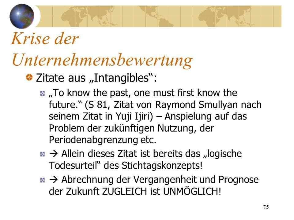 75 Zitate aus Intangibles: To know the past, one must first know the future. (S 81, Zitat von Raymond Smullyan nach seinem Zitat in Yuji Ijiri) – Ansp