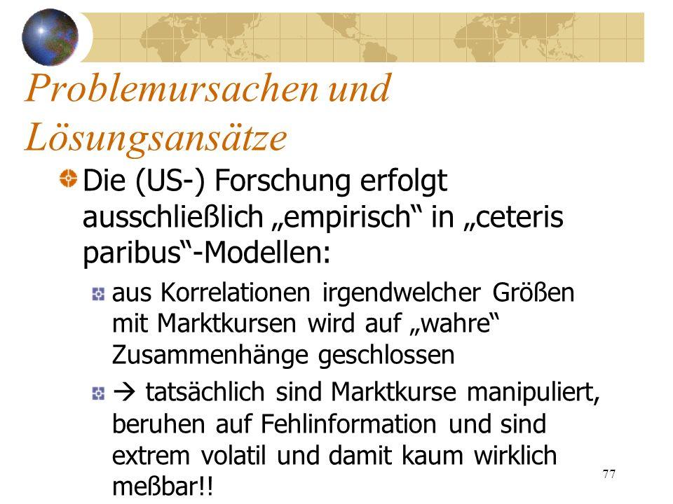 77 Die (US-) Forschung erfolgt ausschließlich empirisch in ceteris paribus-Modellen: aus Korrelationen irgendwelcher Größen mit Marktkursen wird auf w