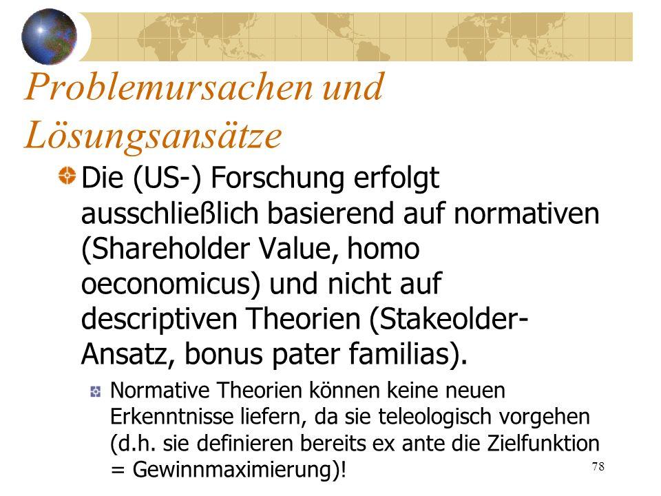 78 Die (US-) Forschung erfolgt ausschließlich basierend auf normativen (Shareholder Value, homo oeconomicus) und nicht auf descriptiven Theorien (Stak