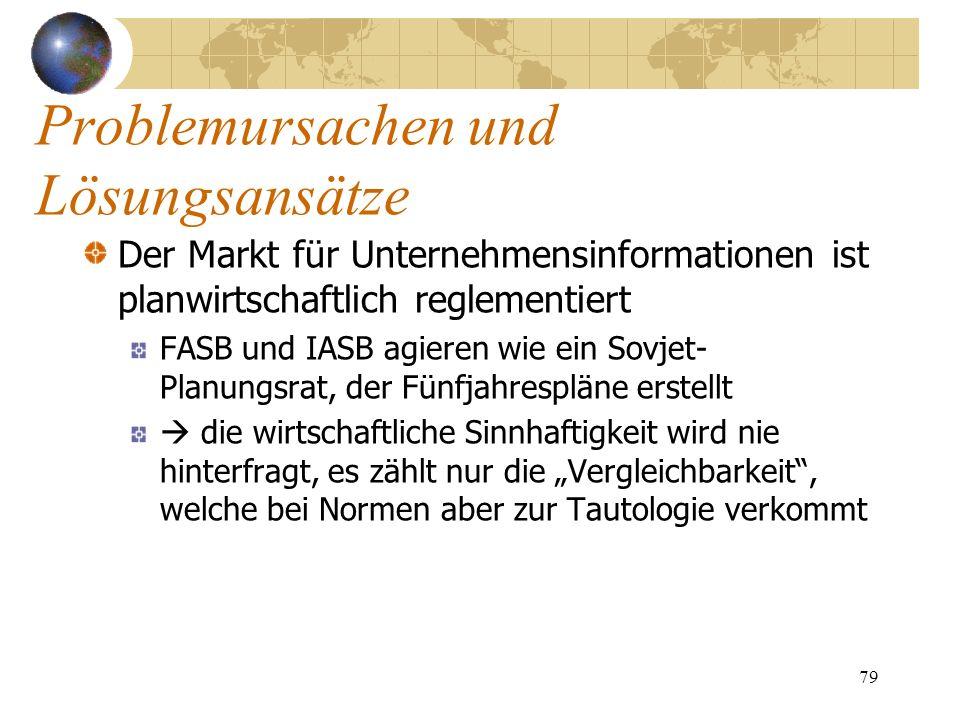 79 Der Markt für Unternehmensinformationen ist planwirtschaftlich reglementiert FASB und IASB agieren wie ein Sovjet- Planungsrat, der Fünfjahrespläne