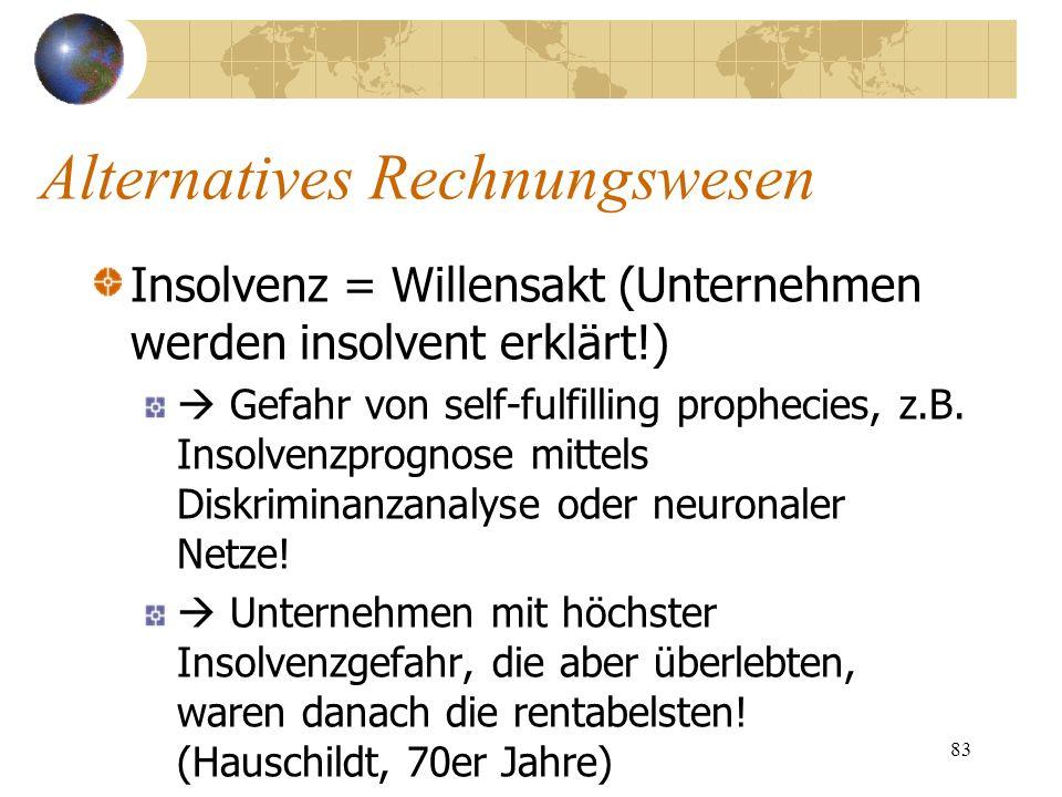 83 Insolvenz = Willensakt (Unternehmen werden insolvent erklärt!) Gefahr von self-fulfilling prophecies, z.B. Insolvenzprognose mittels Diskriminanzan