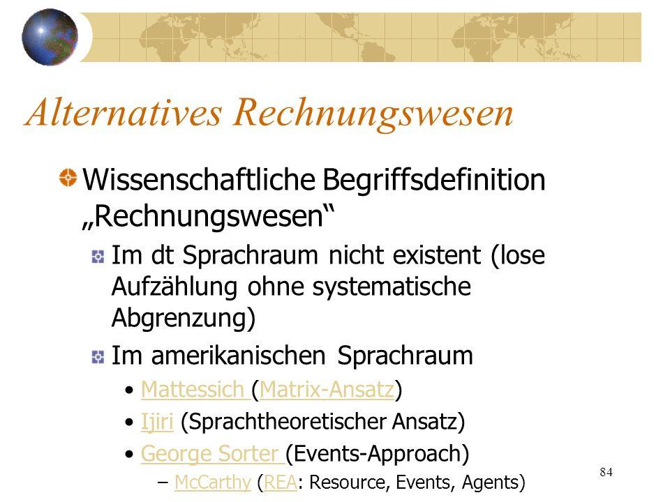 84 Wissenschaftliche Begriffsdefinition Rechnungswesen Im dt Sprachraum nicht existent (lose Aufzählung ohne systematische Abgrenzung) Im amerikanisch