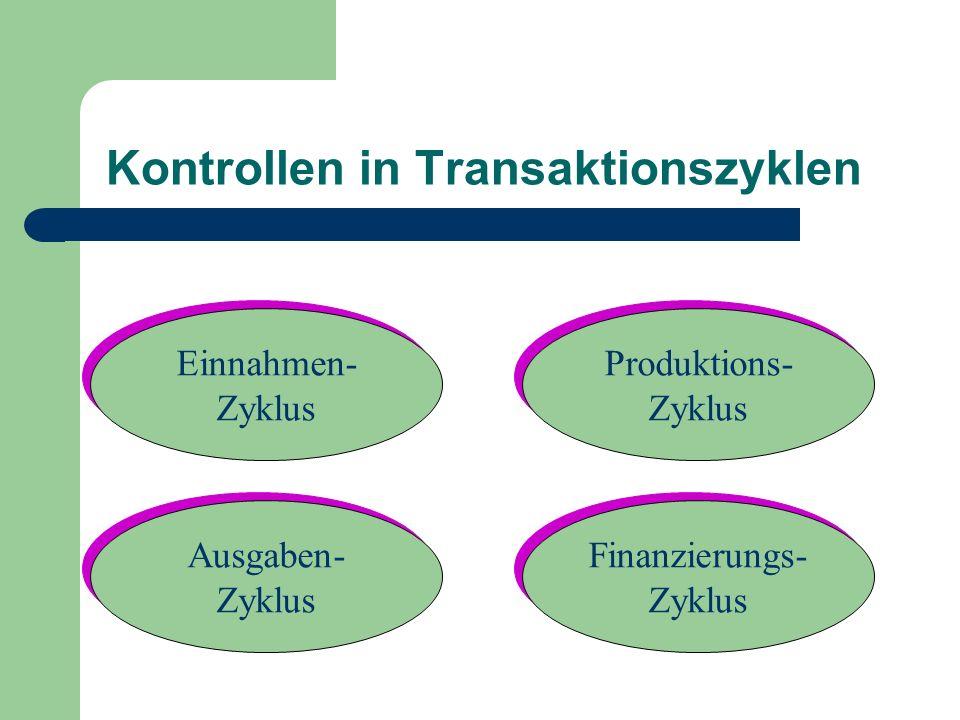 Kontrollen in Transaktionszyklen Ausgaben- Zyklus Ausgaben- Zyklus Finanzierungs- Zyklus Finanzierungs- Zyklus Produktions- Zyklus Produktions- Zyklus