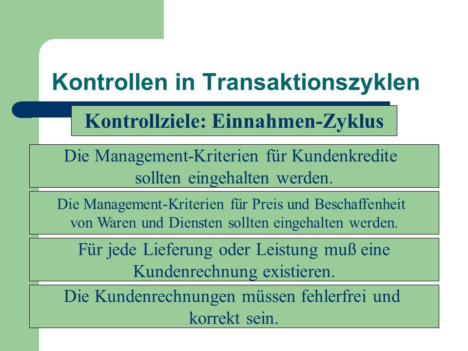 Kontrollen in Transaktionszyklen Die Management-Kriterien für Kundenkredite sollten eingehalten werden. Die Management-Kriterien für Preis und Beschaf