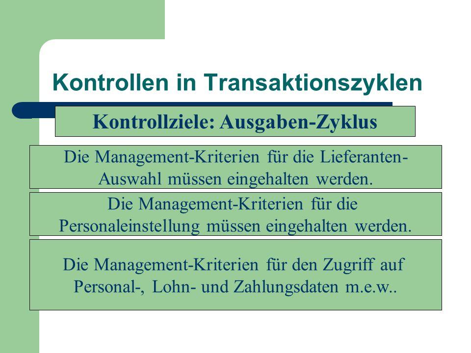 Kontrollen in Transaktionszyklen Die Management-Kriterien für die Lieferanten- Auswahl müssen eingehalten werden. Die Management-Kriterien für die Per