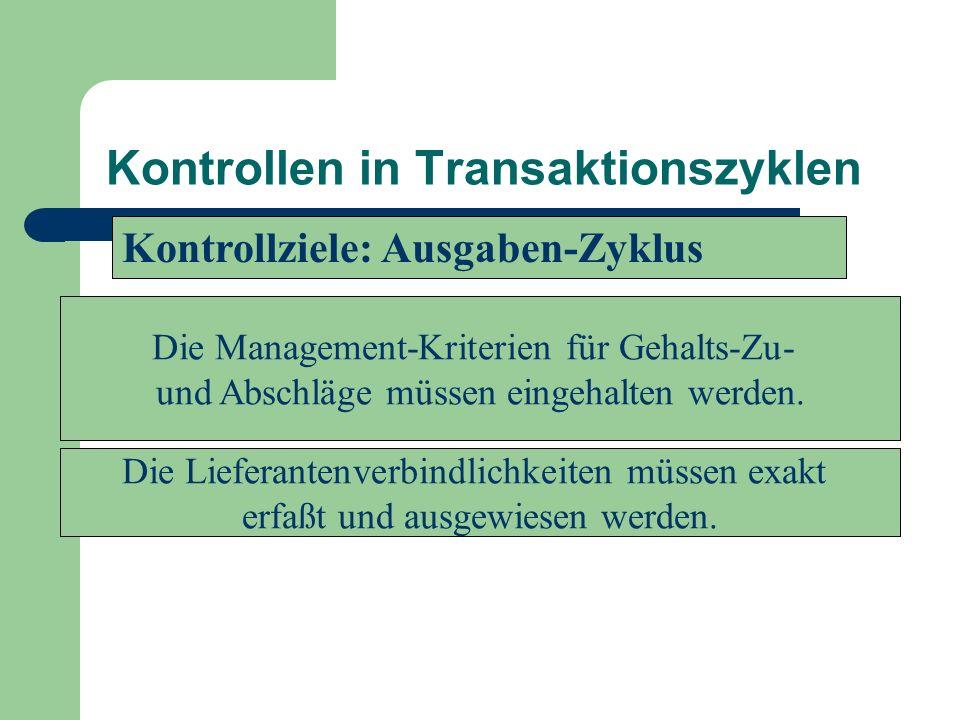 Kontrollen in Transaktionszyklen Die Lieferantenverbindlichkeiten müssen exakt erfaßt und ausgewiesen werden. Die Management-Kriterien für Gehalts-Zu-