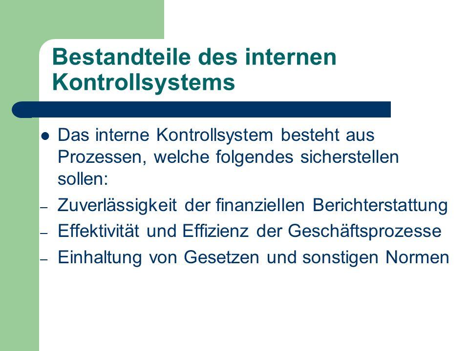 Bestandteile des internen Kontrollsystems Das interne Kontrollsystem besteht aus Prozessen, welche folgendes sicherstellen sollen: – Zuverlässigkeit d