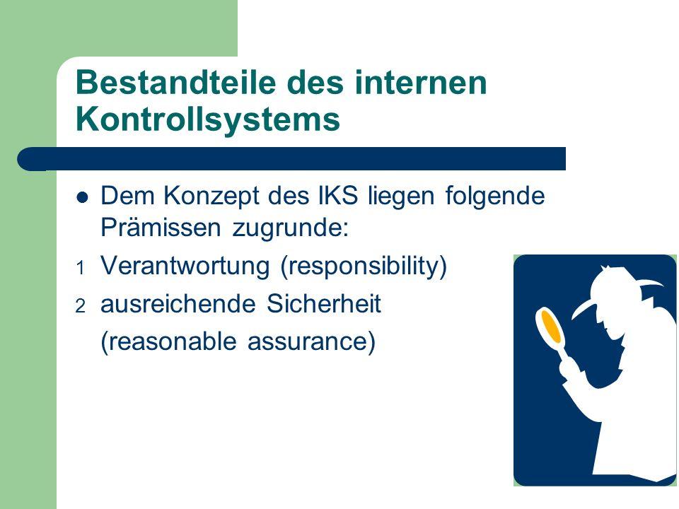 Bestandteile des internen Kontrollsystems Dem Konzept des IKS liegen folgende Prämissen zugrunde: 1 Verantwortung (responsibility) 2 ausreichende Sich