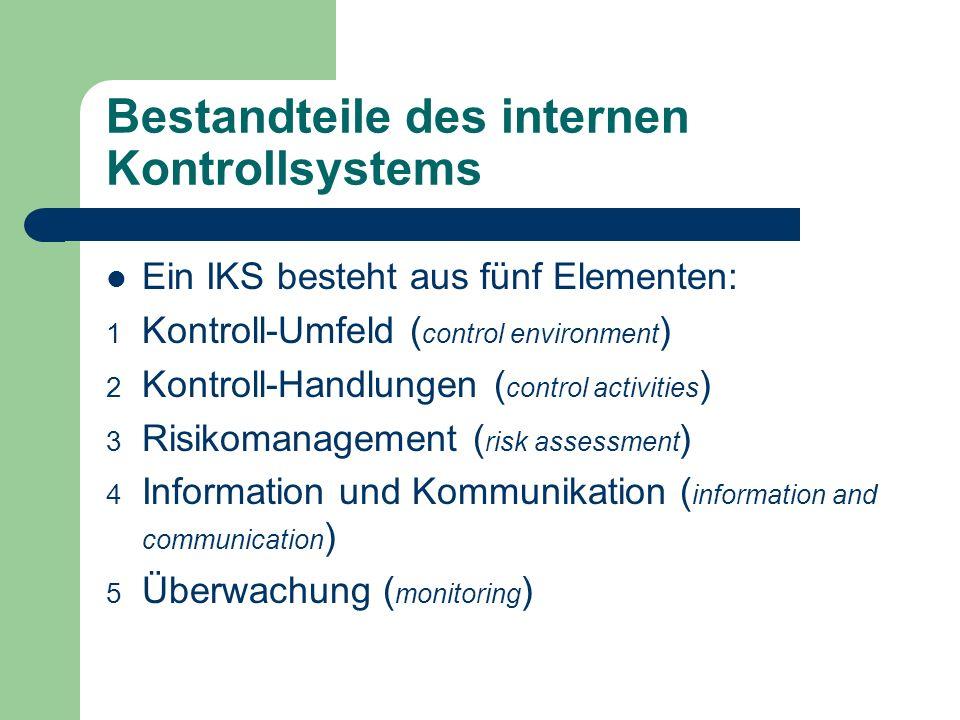 Bestandteile des internen Kontrollsystems Ein IKS besteht aus fünf Elementen: 1 Kontroll-Umfeld ( control environment ) 2 Kontroll-Handlungen ( contro