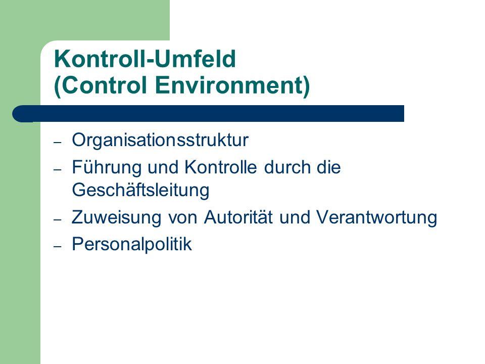 Kontroll-Umfeld (Control Environment) – Organisationsstruktur – Führung und Kontrolle durch die Geschäftsleitung – Zuweisung von Autorität und Verantw