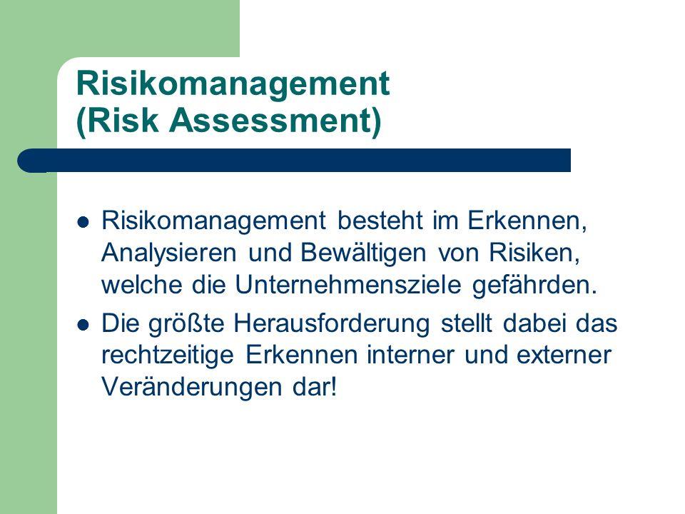Risikomanagement (Risk Assessment) Risikomanagement besteht im Erkennen, Analysieren und Bewältigen von Risiken, welche die Unternehmensziele gefährde
