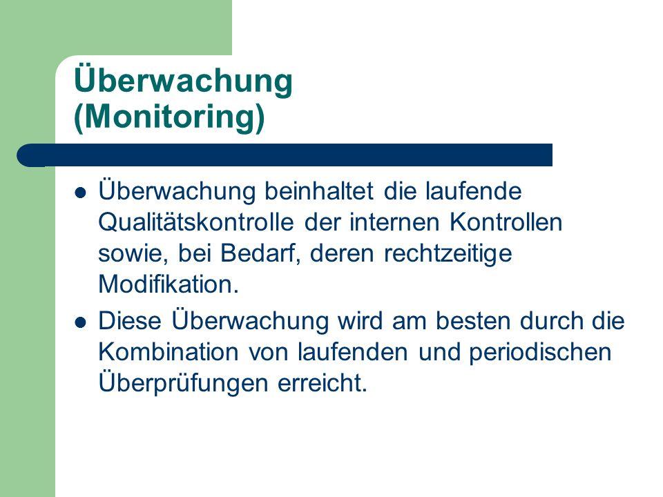 Überwachung (Monitoring) Überwachung beinhaltet die laufende Qualitätskontrolle der internen Kontrollen sowie, bei Bedarf, deren rechtzeitige Modifika