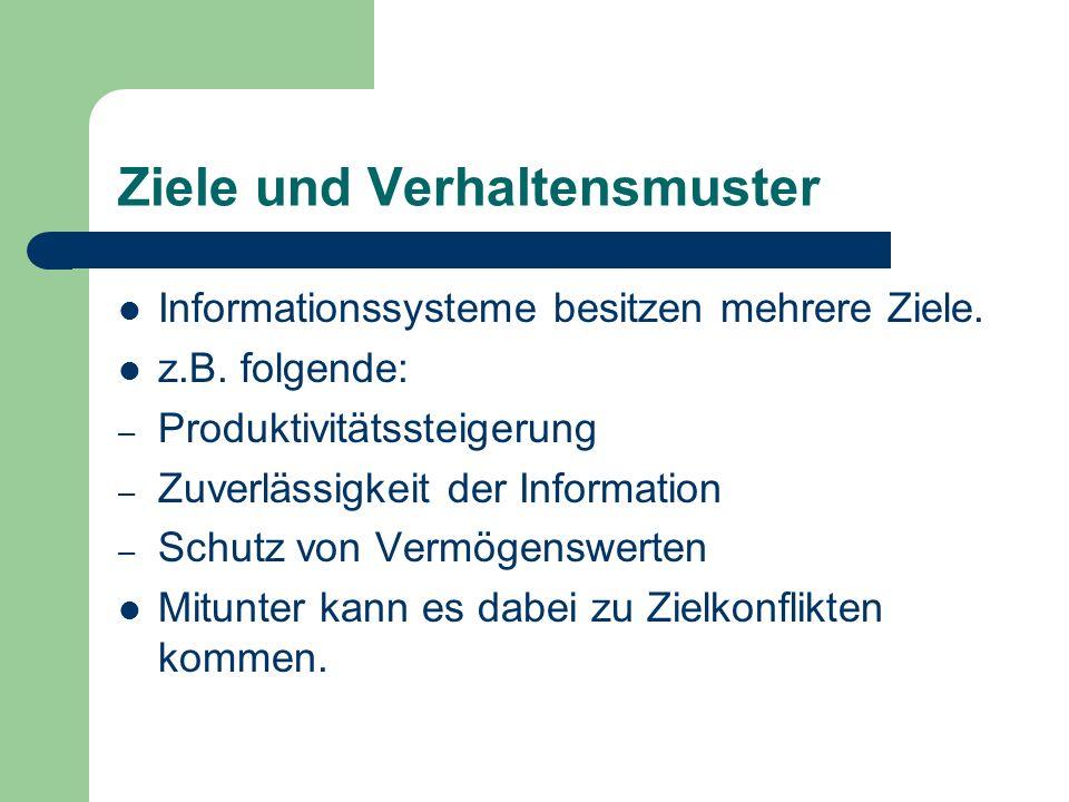 Ziele und Verhaltensmuster Informationssysteme besitzen mehrere Ziele. z.B. folgende: – Produktivitätssteigerung – Zuverlässigkeit der Information – S