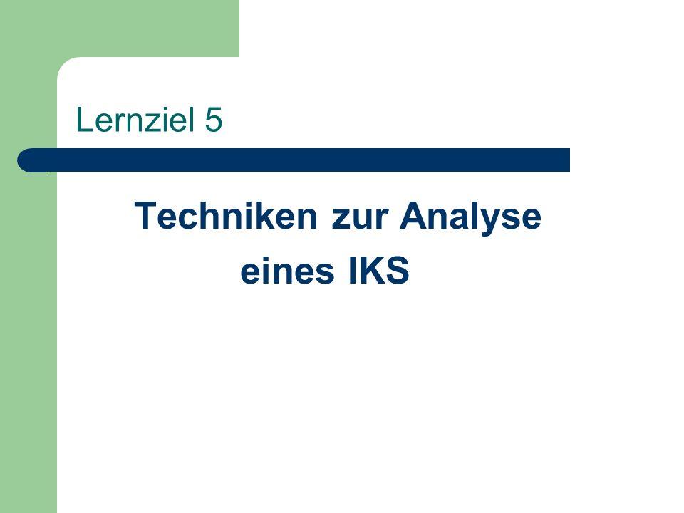 Lernziel 5 Techniken zur Analyse eines IKS