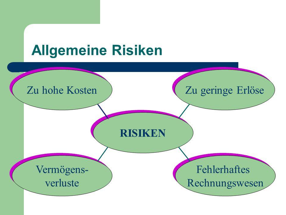 Allgemeine Risiken RISIKEN Zu hohe Kosten Zu geringe Erlöse Fehlerhaftes Rechnungswesen Fehlerhaftes Rechnungswesen Vermögens- verluste Vermögens- ver