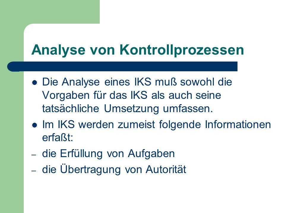 Analyse von Kontrollprozessen Die Analyse eines IKS muß sowohl die Vorgaben für das IKS als auch seine tatsächliche Umsetzung umfassen. Im IKS werden
